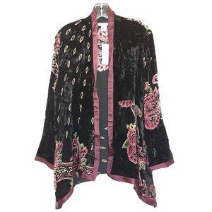 Aris A Black Velvet Silk Blend Paisle Short Kimono